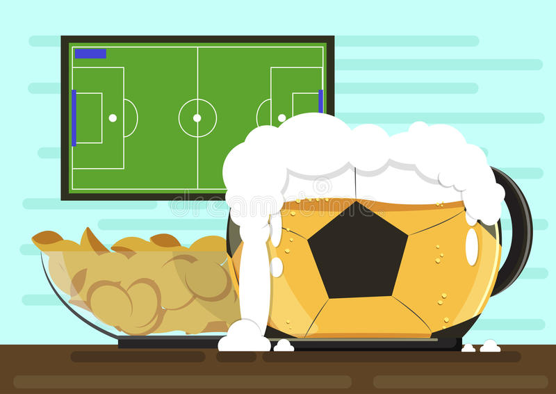Mug in the form of soccer ball with foam kraft beer and a plate of crispy potato chips.Against the backdrop of the TV vector illustration