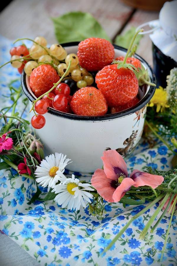 Mug With Fresh Berries Stock Photo