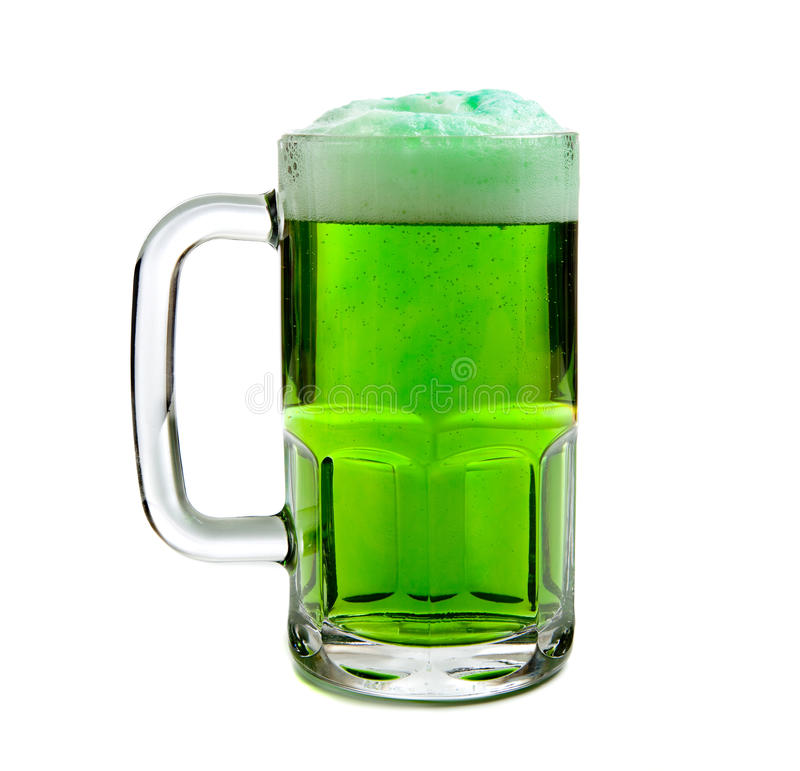 Mug of Green beer on white Background stock photos