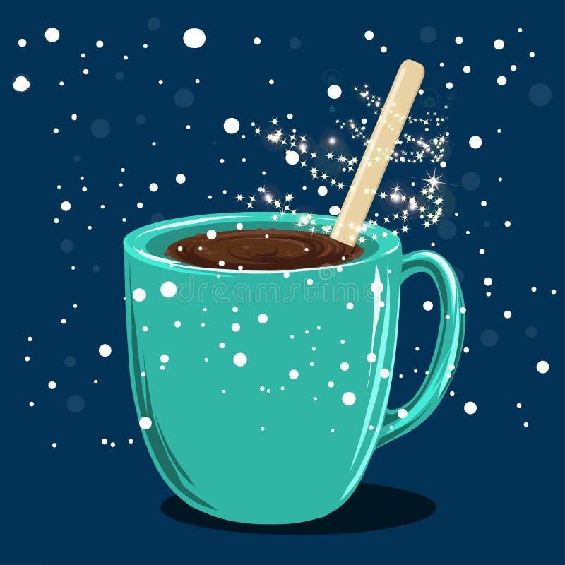 Mug with hot chocolate Christmas magic. And fairy dust royalty free illustration