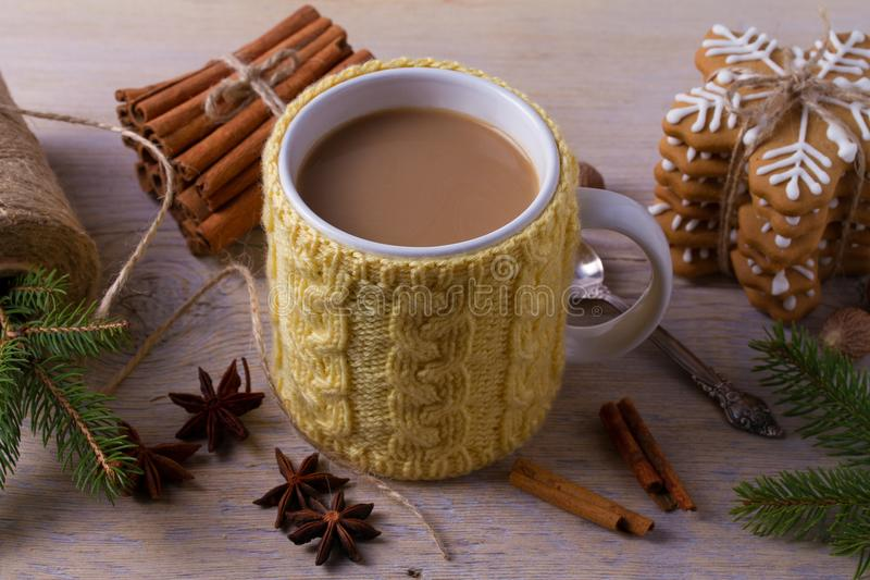 Mug of hot cocoa, good image to convey a feeling of winter and warmth. Winter drink - hot chocolate with cinnamon and anise on woo royalty free stock photo