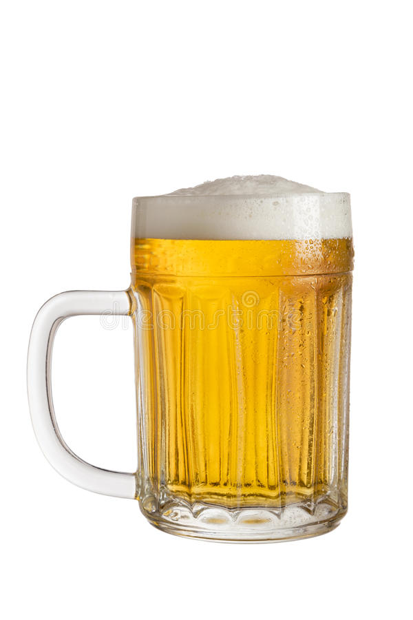 Mug of light beer. Mug of cold light beer isolated on white background stock image