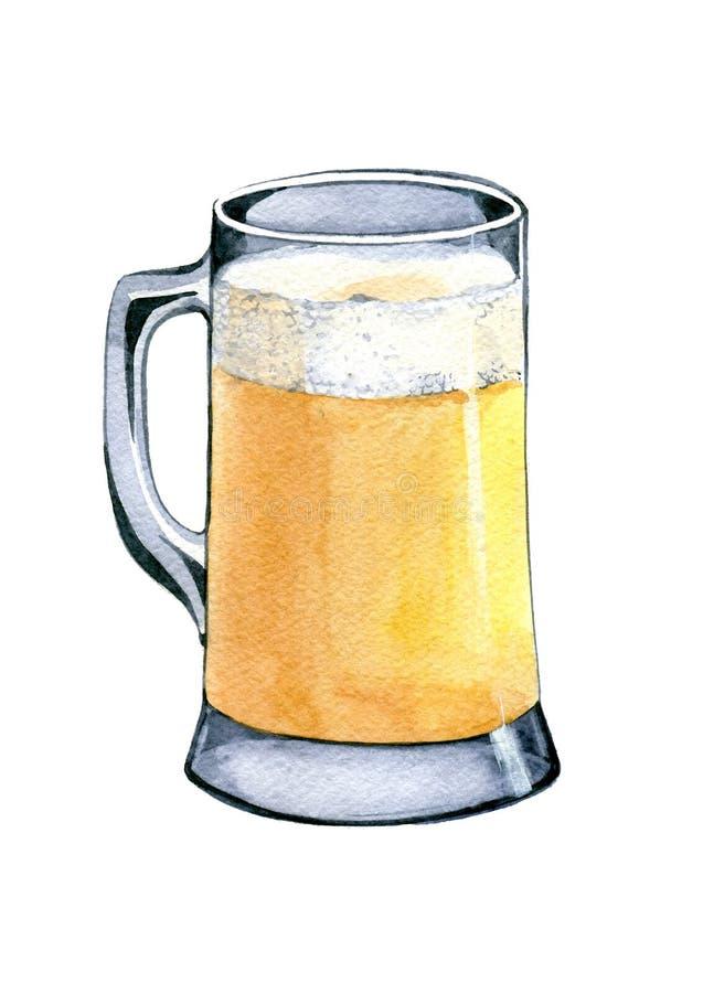 Mug of light beer. Hand drawn watercolor illustration isolated on white background. Mug of light beer. Hand drawn watercolor illustration isolated on white royalty free stock photos