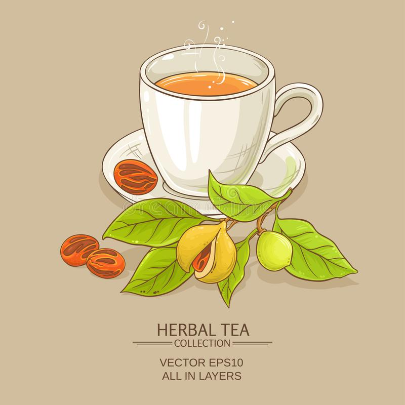 Mug of nutmeg tea. On color background stock illustration