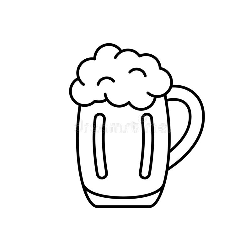 Free Mug Of Beer With Foam. Linear Icon Of Pint Of Ale. Black Simple Illustration Of Bar, Alcohol Drink. Contour Isolated Vector Royalty Free Stock Images - 201876369