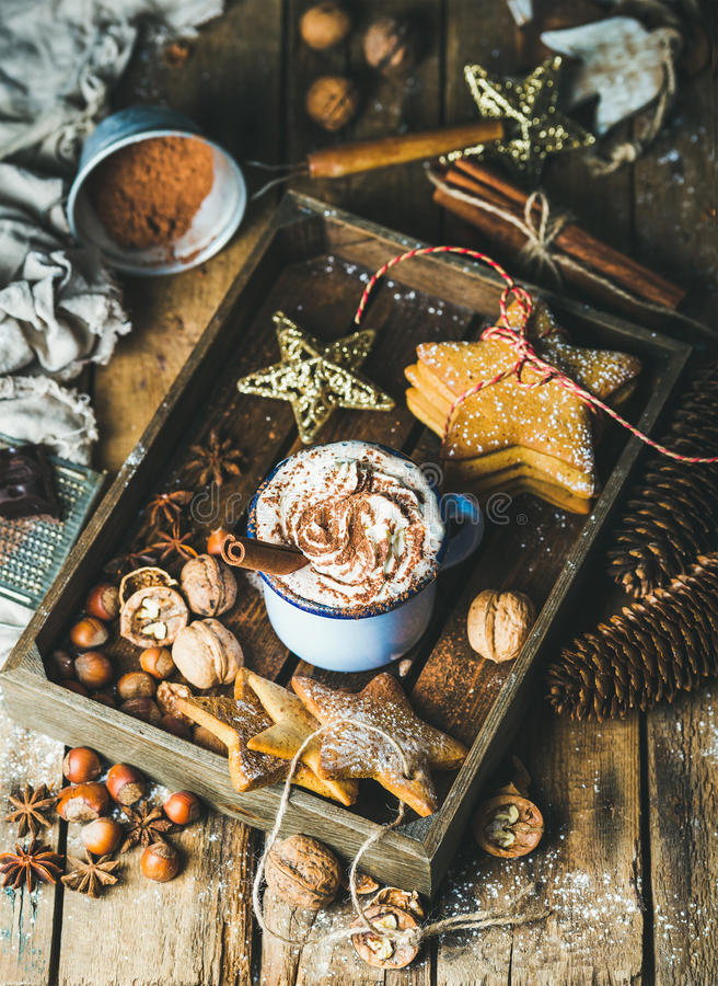 Free Mug Of Hot Chocolate, Gingerbread Cookies, Nuts In Wooden Tray Stock Photos - 78670213