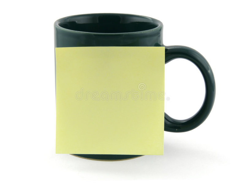 Mug And Post-it Note Royalty Free Stock Images