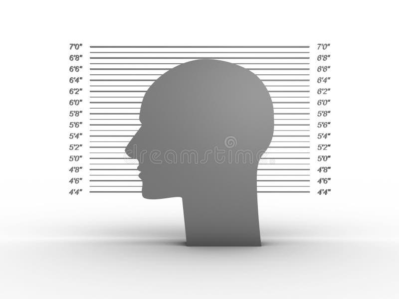 Mug shot on white background. 3D image royalty free illustration