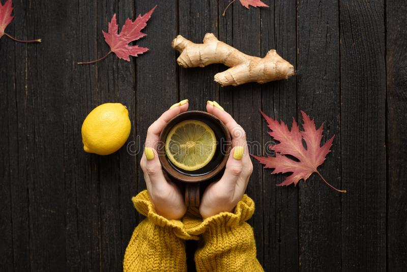 Mug of tea in female hands. Lemon, ginger and autumn leaves. Cold treatment. Wooden background. Top view.  stock image