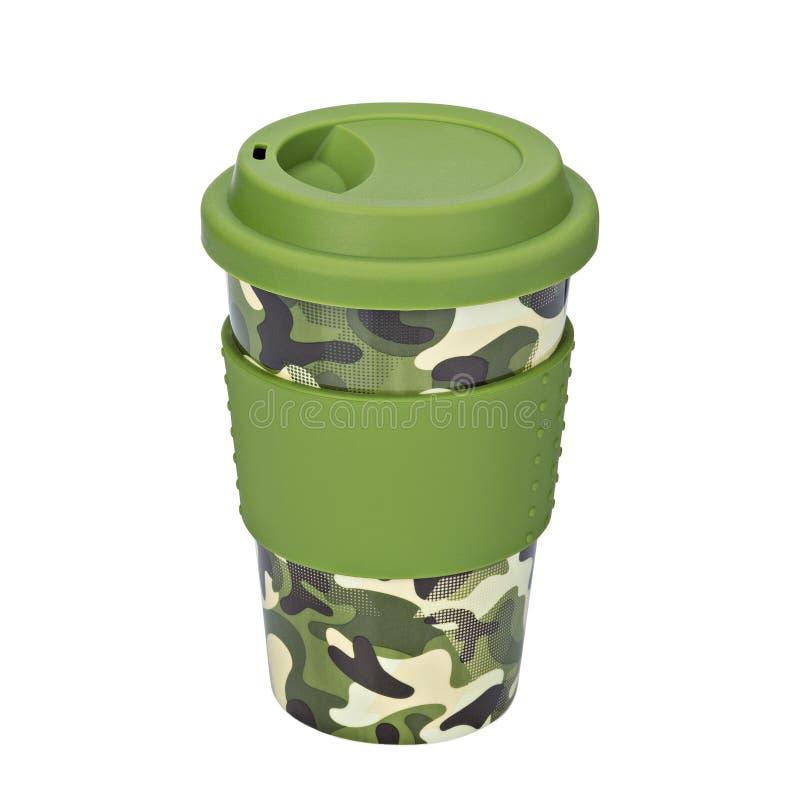 Mug of thermos, Camouflage mug. On isolated white background royalty free stock image
