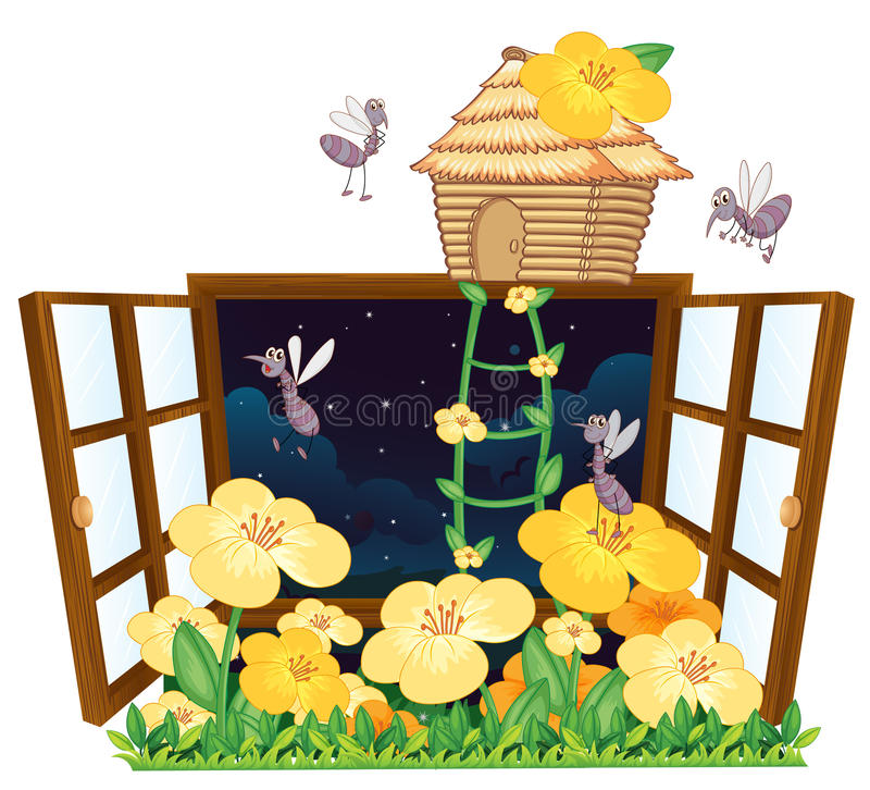 Mug, vogelhuis en venster stock illustratie