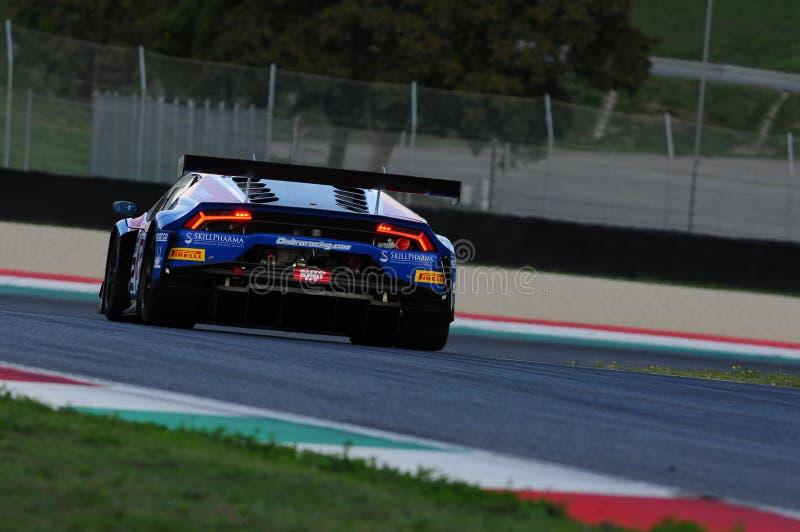 Mugello电路,意大利- 2017年10月6日, :Lamborghini OMBRA贝瑞塔驾驶的Srl队Huracan米谢勒- FRASSINETI亚历克斯 库存图片