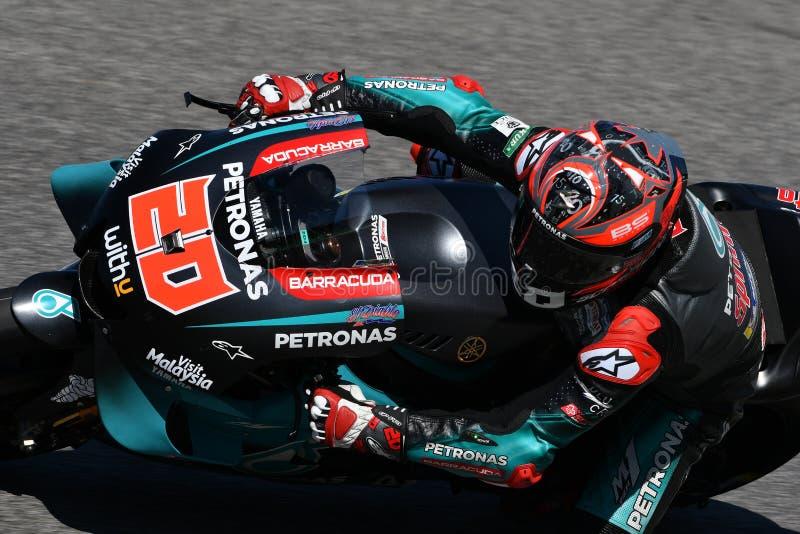 Mugello - Италия, 1-ое июня: Французский всадник Fabio Quartararo команды Petronas Yamaha Srt в действии во время GP 2019 Италии стоковые изображения rf