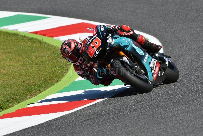 Mugello - Италия, 1-ое июня: Французский всадник Fabio Quartararo команды Petronas Yamaha Srt в действии во время GP 2019 Италии стоковые изображения