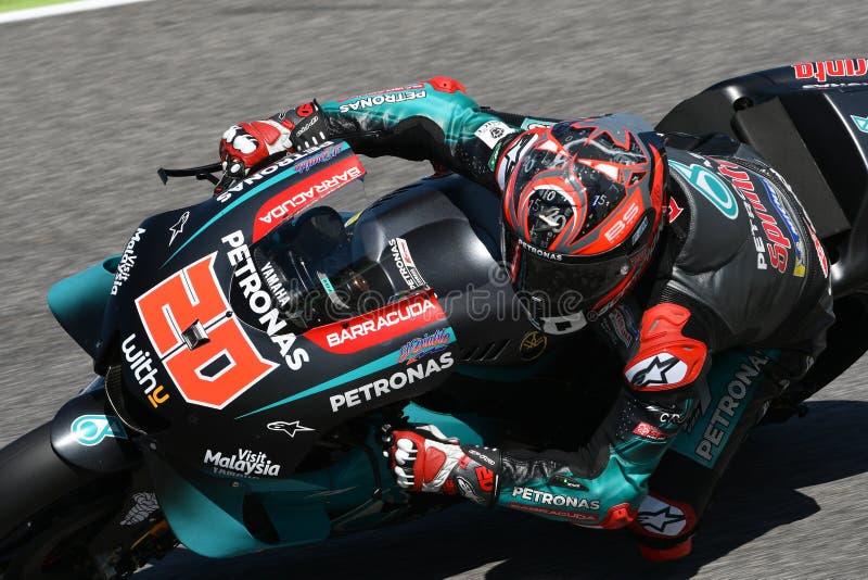 Mugello - Италия, 1-ое июня: Французский всадник Fabio Quartararo команды Petronas Yamaha Srt в действии во время GP 2019 Италии стоковое изображение rf
