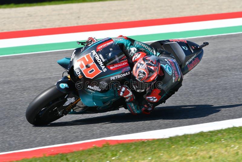 Mugello - Италия, 1-ое июня: Французский всадник Fabio Quartararo команды Petronas Yamaha Srt в действии во время GP 2019 Италии стоковое фото rf