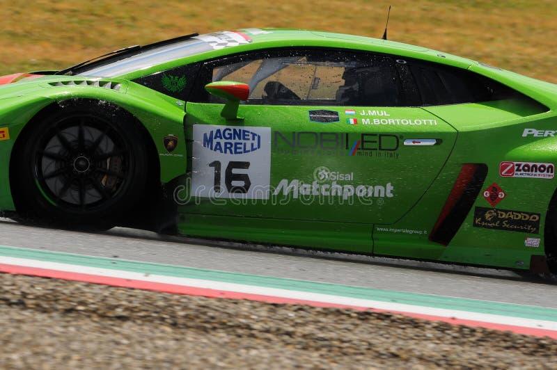 Mugello Circuit, Italy - July 17, 2016: Lamborghini Huracan GT3 - Super GT3 of Imperiale Racing driven by Mirko Bortolotti and royalty free stock photos