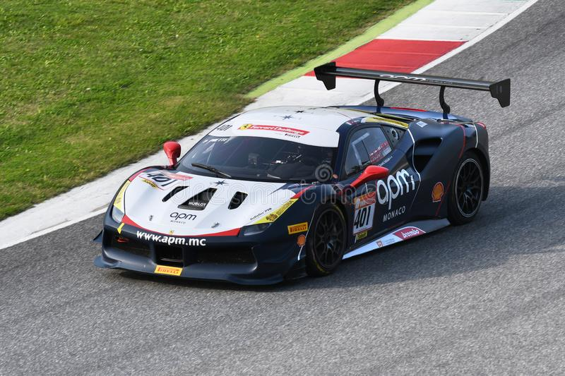 Mugello Circuit - Italy, 25 October 2019: Ferrari 488 Challenge in action during Race of Ferrari Challenge World Finals 2019 royalty free stock images
