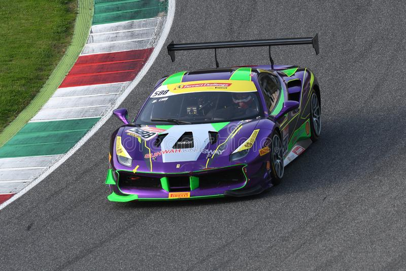 Mugello Circuit - Italy, 25 October 2019: Ferrari 488 Challenge in action during Race of Ferrari Challenge World Finals 2019 stock photography
