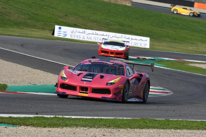 Mugello Circuit - Italy, 25 October 2019: Ferrari 488 Challenge in action during Race of Ferrari Challenge World Finals 2019 stock image