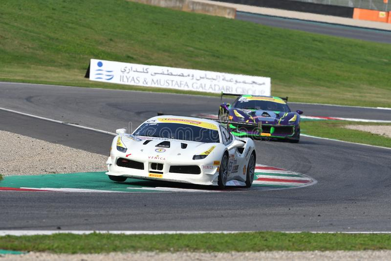Mugello Circuit - Italy, 25 October 2019: Ferrari 488 Challenge in action during Race of Ferrari Challenge World Finals 2019 royalty free stock photos