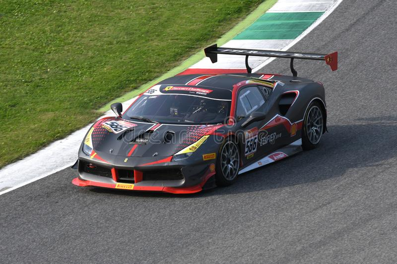 Mugello Circuit - Italy, 25 October 2019: Ferrari 488 Challenge in action during Race of Ferrari Challenge World Finals 2019 stock images
