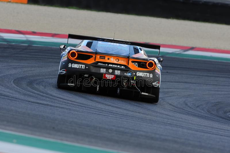 Mugello Circuit, Italy - 6 October, 2017: A Ferrari 488 GT3 of Team Black Bull Swiss Racing, driven by S. GAI and M. RUGOLO stock photography