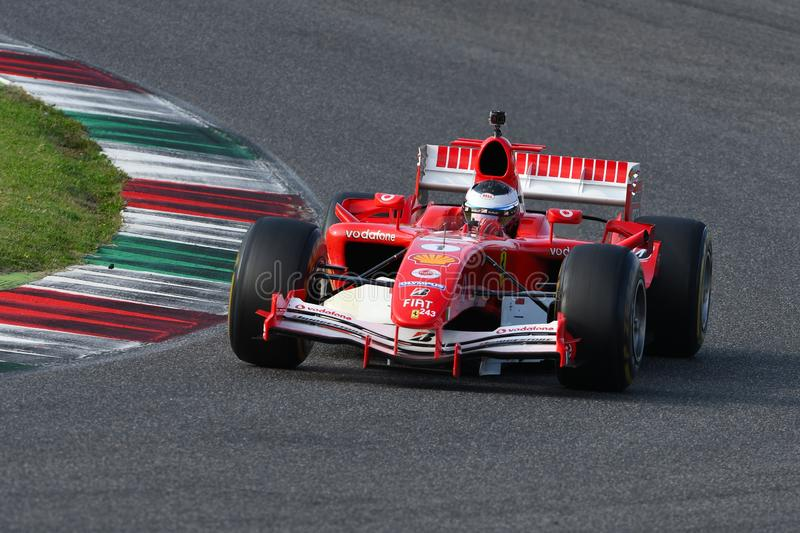 Mugello Circuit, 24 October 2019: Ferrari F1 model F2005 year 2005 ex Michael Schumacher - Rubens Barrichello in action during royalty free stock image