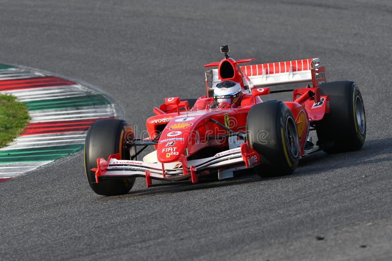 Mugello Circuit, 24 October 2019: Ferrari F1 model F2005 year 2005 ex Michael Schumacher - Rubens Barrichello in action during royalty free stock photo
