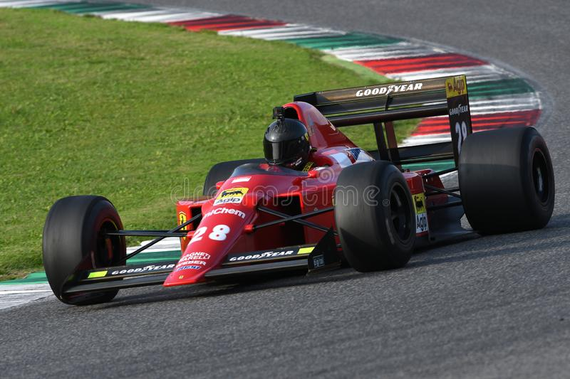 Mugello Circuit, 24 October 2019: Historic 1989 F1 Ferrari F189 ex Gerhard Berger - Nigel Mansell in action during Finali Mondiali royalty free stock image