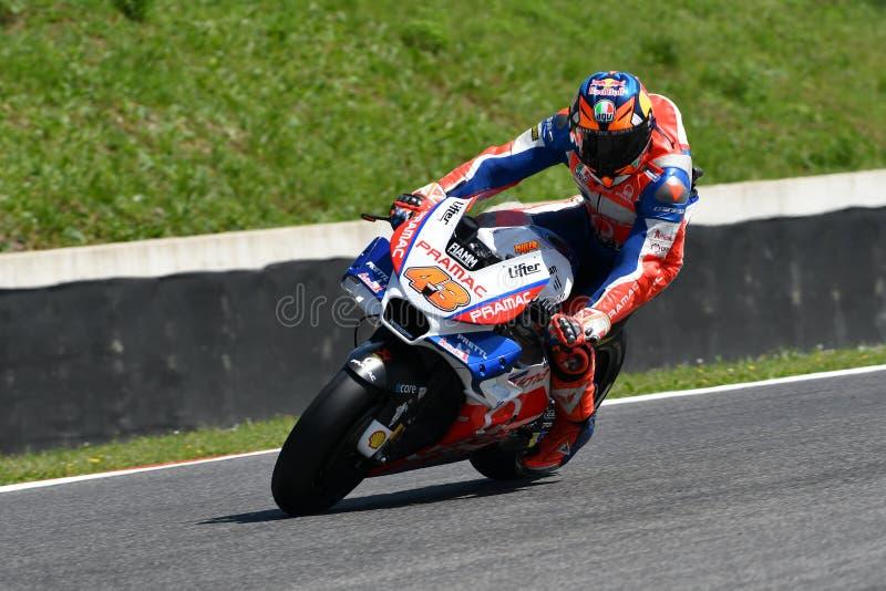 Mugello - ITÁLIA, O 1º DE JUNHO: Australiano Ducati Alma Pramac Team Rider Jack Miller durante a sessão de prática em GP 2018 de  imagem de stock royalty free