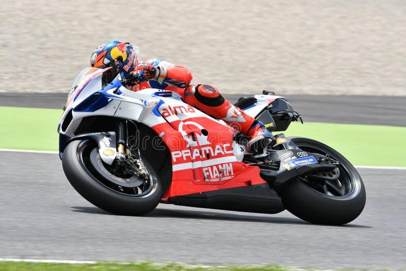 Mugello - ITÁLIA, O 1º DE JUNHO: Australiano Ducati Alma Pramac Team Rider Jack Miller durante a sessão de prática em GP 2018 de  imagem de stock