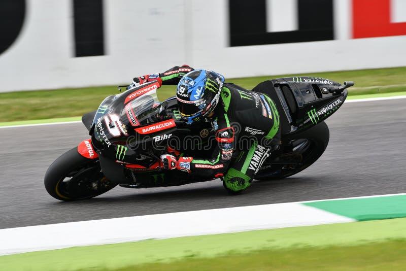 MUGELLO - ITÁLIA, O 1º DE JUNHO: Yamaha Tech francês 3 Team Rider Johann Zarco durante a sessão de prática em GP 2018 de Itália d imagens de stock royalty free