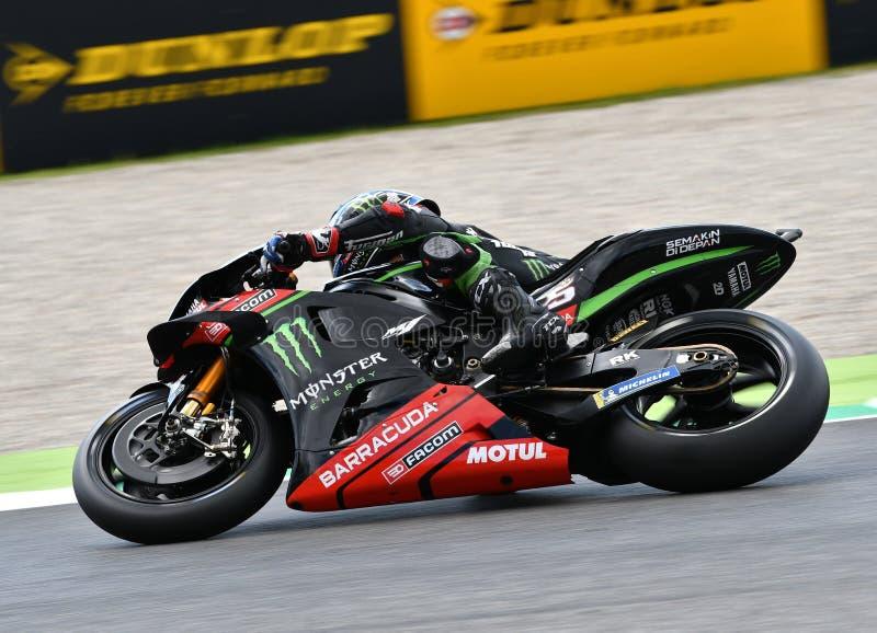 MUGELLO - ITÁLIA, O 1º DE JUNHO: Yamaha Tech francês 3 Team Rider Johann Zarco durante a sessão de prática em GP 2018 de Itália d imagens de stock