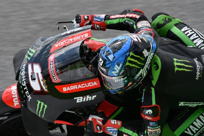 MUGELLO - ITÁLIA, O 1º DE JUNHO: Yamaha Tech francês 3 Team Rider Johann Zarco durante a sessão de prática em GP 2018 de Itália d fotos de stock