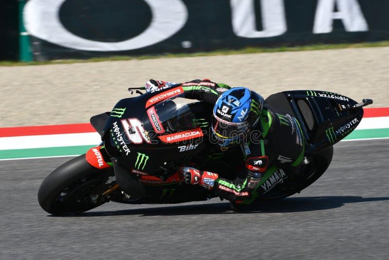 MUGELLO - ITÁLIA, O 1º DE JUNHO: Yamaha Tech francês 3 Team Rider Johann Zarco durante a sessão de prática em GP 2018 de Itália d imagem de stock