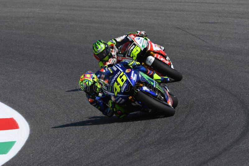 MUGELLO - ITÁLIA, O 3 DE JUNHO: Cavaleiro Valentino Rossi de Yamaha do italiano em GP 2017 de MotoGP de Itália o 2 de junho de 20 foto de stock royalty free