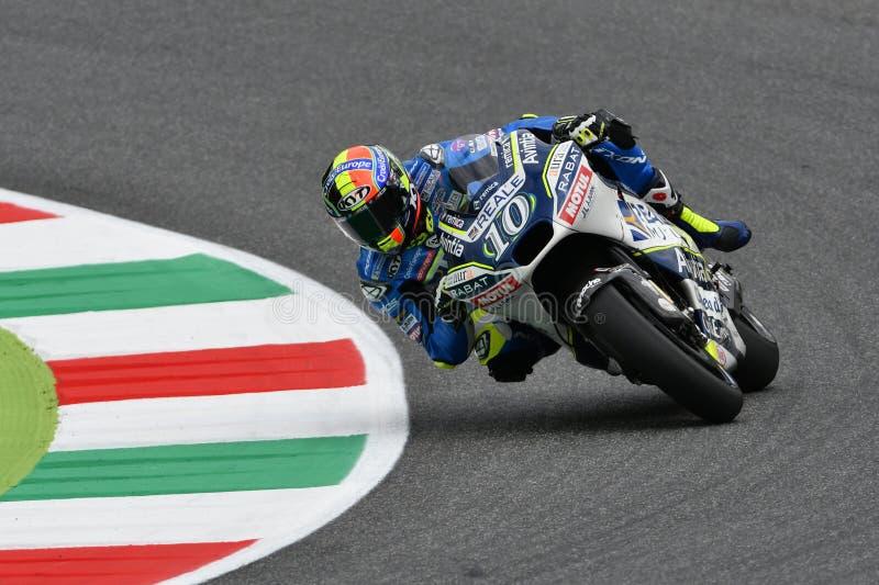 Mugello - ITALIË, 2 JUNI: Spaanse Ducati Reale die Avintia Team Rider Xavier Simeon rennen bij 2018 GP van Italië van MotoGP op J stock foto's