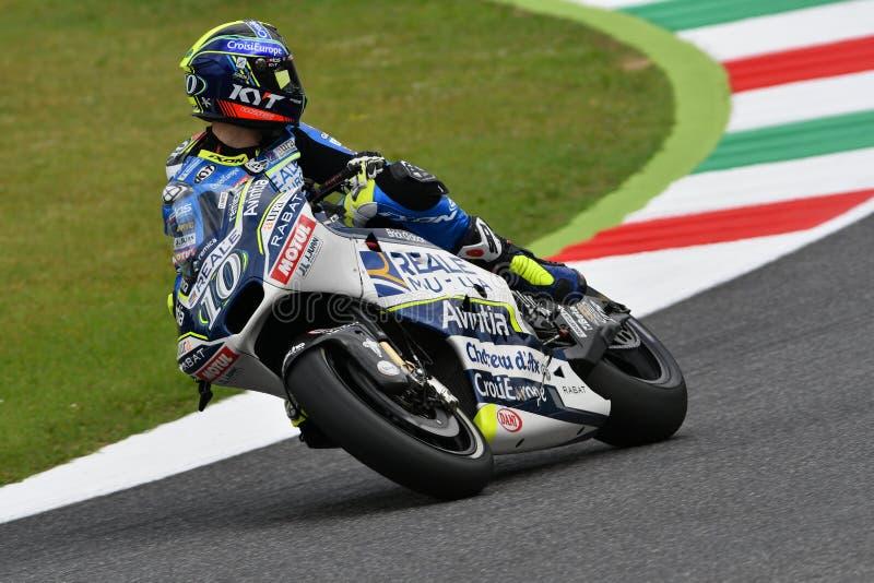 Mugello - ITALIË, 2 JUNI: Spaanse Ducati Reale die Avintia Team Rider Xavier Simeon rennen bij 2018 GP van Italië van MotoGP op J stock afbeeldingen