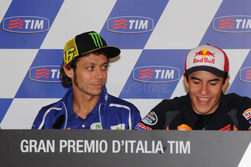Mugello - Italië, 29 Mei: ruiters Valentino Rossi en Marc Marquez tijdens persconferentie bij 2014 TIM MotoGP GP van Italië op 29 royalty-vrije stock fotografie