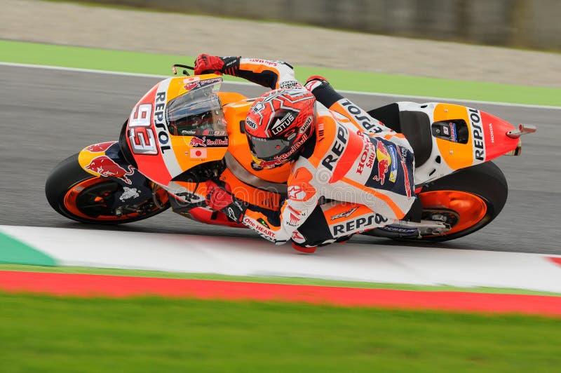 Mugello - ITALIA, el 21 de mayo - 2016: Jinete Marc Marquez de Honda del español en GP 2016 de TIM Italia MotoGP de Italia en el  imagenes de archivo