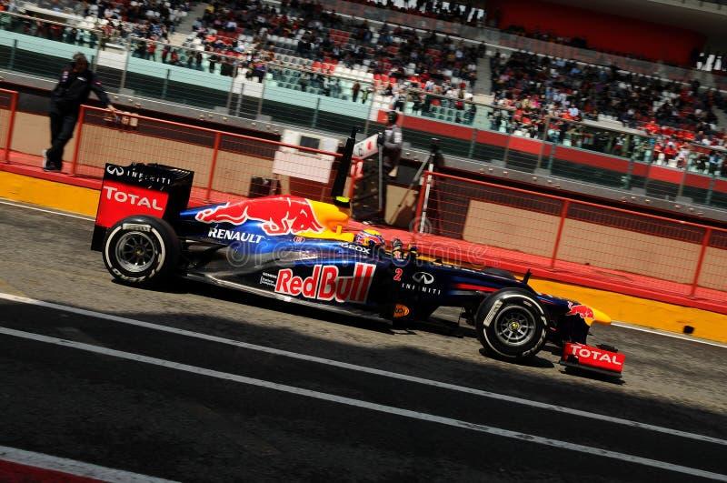 MUGELLO, ITALIEN im Mai 2012: Mark Webber laufenden Teams Red Bulls F1 während der Schulungseinheit an Mugello-Stromkreis in Ital lizenzfreie stockfotos