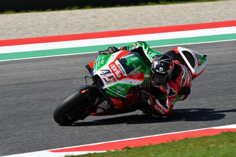 Mugello - ITALIEN, AM 2. JUNI: Britisches Aprilia, das Team Gresini Rider Scott Redding bei GP 2018 von Italien von MotoGP im Jun lizenzfreies stockbild