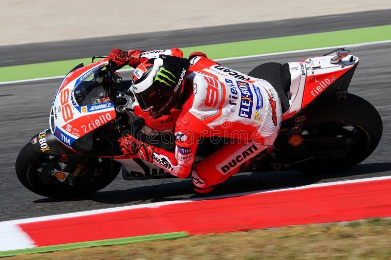 MUGELLO - ITALIEN, AM 3. JUNI: Spanisch Ducati-Reiter Jorge Lorenzo bei 2017 OAKLEY MotoGP GP von Italien stockbilder