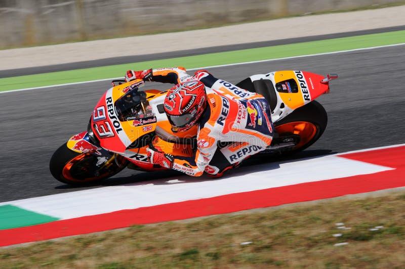Mugello - ITALIEN, Juni 2: Spansk Honda ryttare Marc Marquez på Oakley GP 2017 av Italien MotoGP på den Mugello strömkretsen på J royaltyfri foto