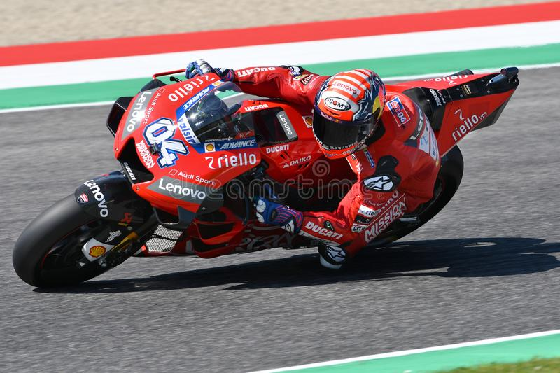 Mugello - Italy, 1 June 2019: Italian Ducati Team rider Andrea Dovizioso in action at 2019 GP of Italy of MotoGP on June 2019. In Italy royalty free stock photos