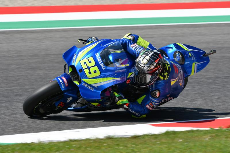 MUGELLO - ITALY, 1 June: Italian Suzuki Ecstar Team rider Andrea Iannone during Practcie session at 2018 GP of Italy of MotoGP on. June 2018. Italy royalty free stock photo