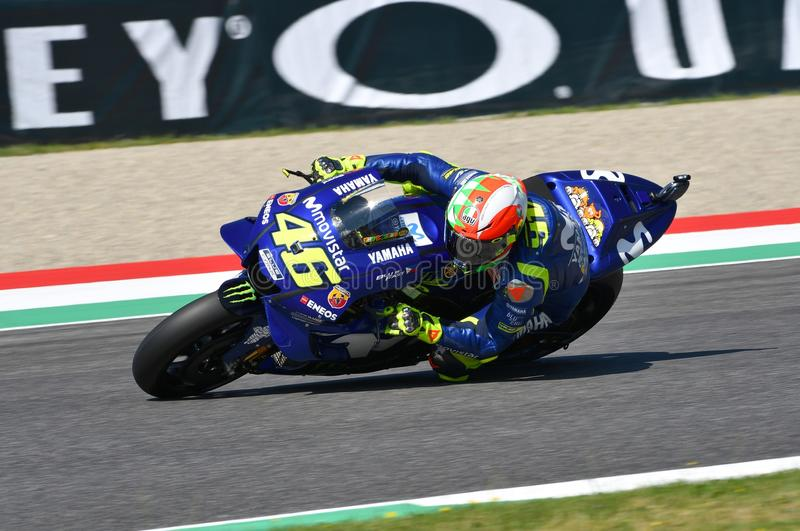 MUGELLO - ITALY, 2 JUNE: Italian Yamaha Movistar Team rider Valentino Rossi set Pole Position during Qualifyng session at 2018 GP stock image