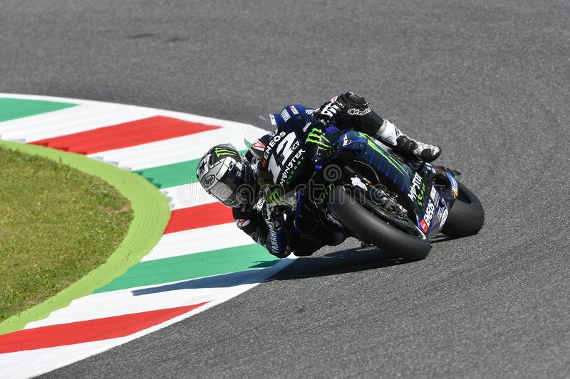 Mugello - Italy, 1 June: spanish Yamaha Movistar Team rider Maverick Vinales in action at 2019 GP of Italy of MotoGP. On June stock photos