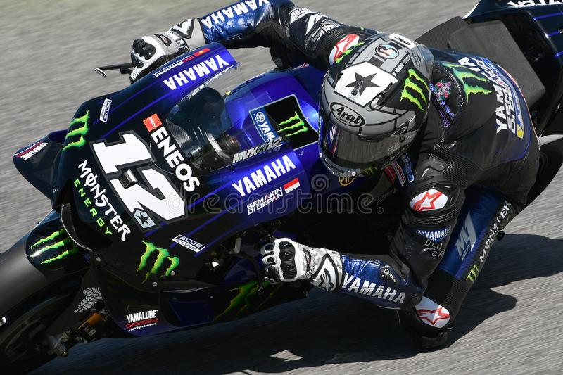 Mugello - Italy, 1 June: spanish Yamaha Movistar Team rider Maverick Vinales in action at 2019 GP of Italy of MotoGP. On June royalty free stock photos
